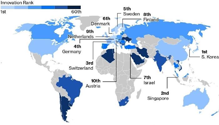 США выпали из десятки самых инновационных стран мира